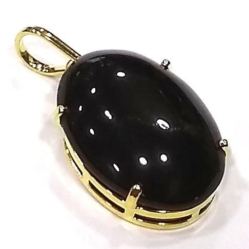 Lindo Pingente Cabochão De Pedra Natural Obsidiana 3cm Cab7