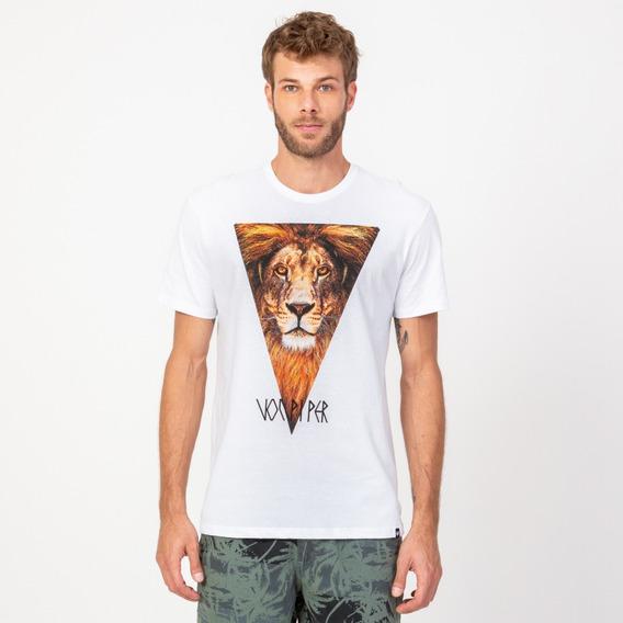 Camisa Casual Masculina T-shirt Leão Branco Vonpiper
