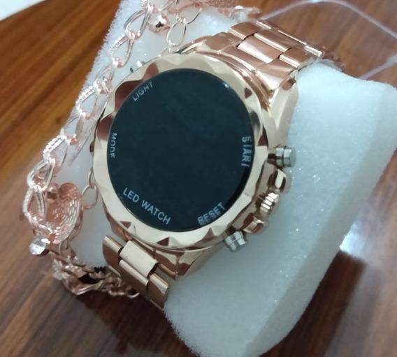 Melhor Relógio Digital Rose + Pulseira + Frete Grátis