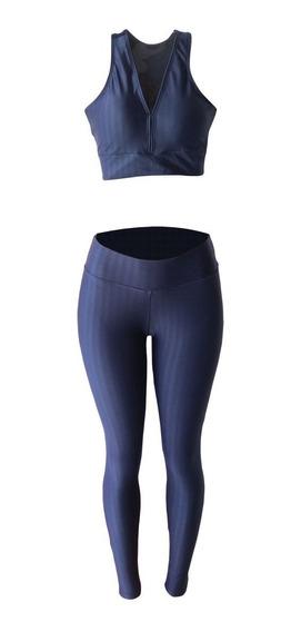 Calça Legging E Top Cropped Fitness 3d Cirrê Academia