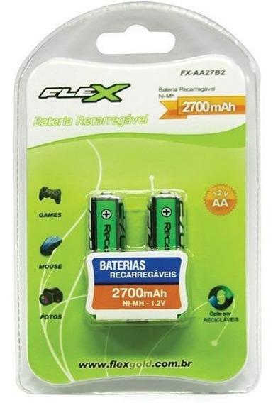 2 Pilhas Recarregáveis Pequena Aa 2700 Mah 1.2v. Flex