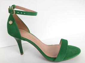 Sandália Feminina Salto Fino Verde Militar/amarelo 3168353