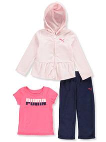 Conjunto Em Fleece Infantil Puma Menina Original Frio 3pçs