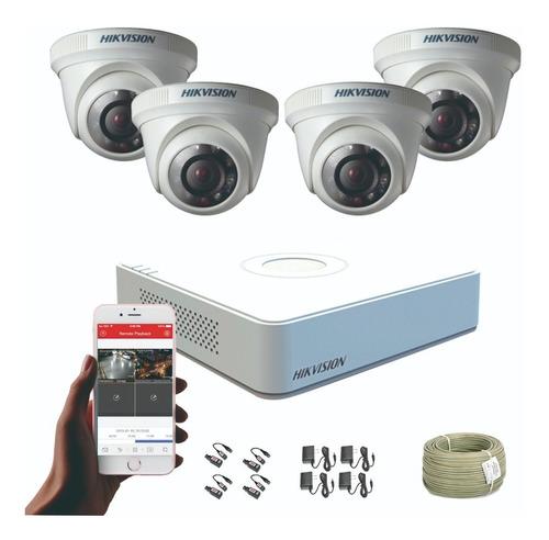 Imagen 1 de 6 de Cámaras De Seguridad Kit Cctv Hikvision Mini Dvr 4ch + 4 Cám