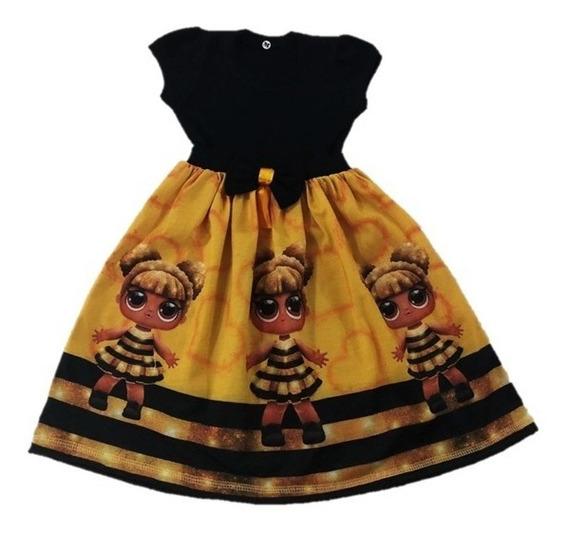Vestido Infantil Bonecas Lol Queen Bee Malha -roupa/fantasia