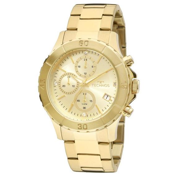 Relógio Technos Feminino Social Dourado Cronógrafo Js15bm 4d