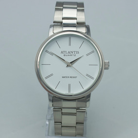 Relógio Masculino Atlantis Original Prata Dourado Pulso Soci