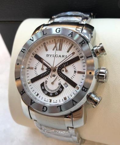 Relógio Masculino Bullgari De Aço Mostrador Branco