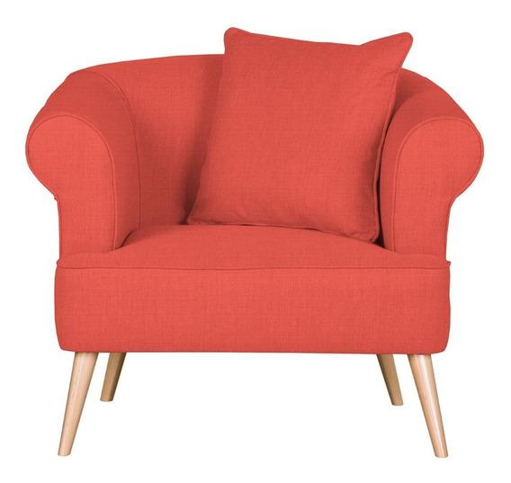 Sillón Lilú Estilo Moderno Color Rojo Anaranjado
