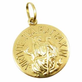 Pingente De São Bento Em Ouro 18k 2,5cm