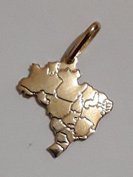 Pingente Mapa Do Brasil Estados Folheado A Ouro 18k Nfe