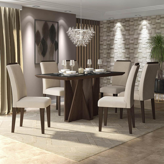 Conjunto Sala De Jantar 6 Cadeiras C/ Vidro Asia Imbuia