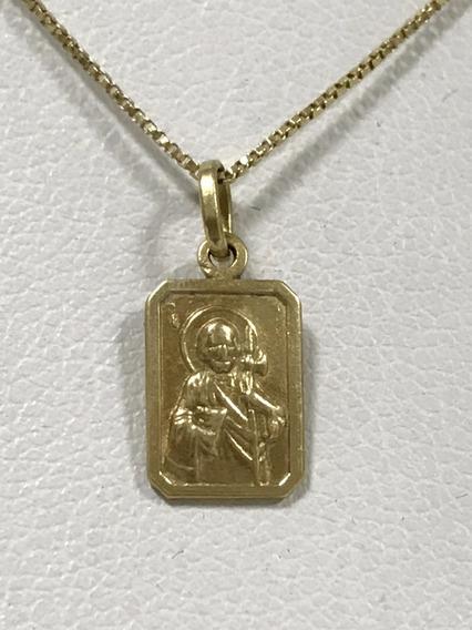 Colar Em Ouro 18k Com Pingente, 1.9 Gramas, 43 Cm