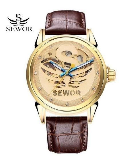 Relógio Masculino Luxo Elegante Sewor Semi Automático