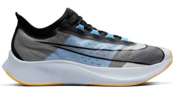 Tênis Nike Zoom Fly 3 Masc. Preto E Cinza Academia, Corrida