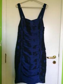 Vestido Tubinho Tafetá Tam 46 Azul Bic