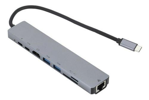 Hub Usb C Multiport Hdmi 4k Usb3.0 Red Rj45 Sd Tf 8 En 1