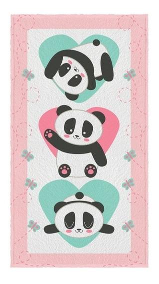 Toalha Felpuda Banho Panda Menina Pandinhas 60cm X 110cm