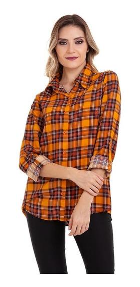 Camisa Xadrez Viscose Amarelo Kinara