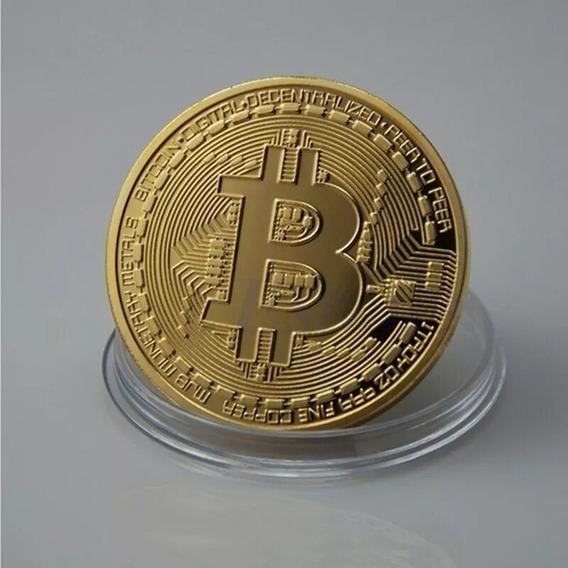 Kit C/ 5 Moedas Bitcoin Colecionável Banhada A Ouro