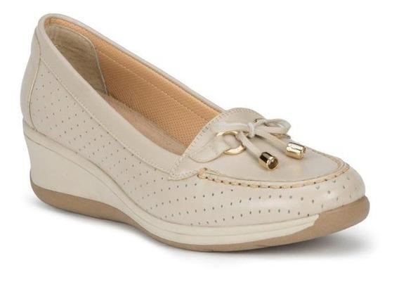 Zapato Dama Diseño Unico 100 % Piel Borrego Moño Frente