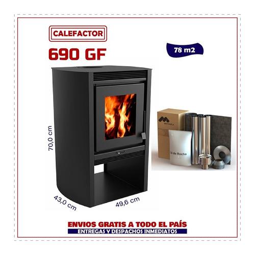 Imagen 1 de 8 de Calefactor Ecológico Doble Comb. 690gf + Kit De Caños Techo