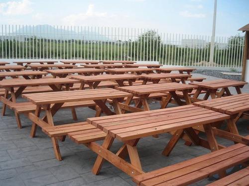 Imagen 1 de 9 de Mesa De Madera Picnic, Banca, Jardin, Exterior, Restaurante,