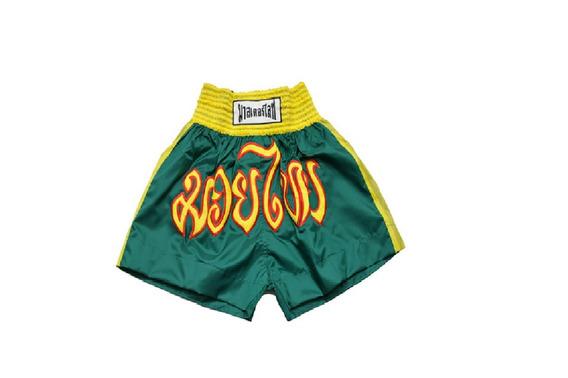 Short De Kick Boxing Color Vde/ama Asiana + Envio Gratis