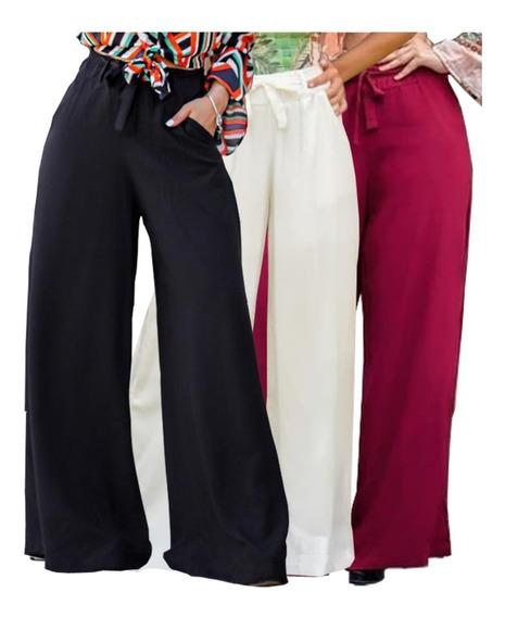 Calça Elegante Pantalona Sem Fenda Lateral Viscose Leveza