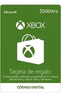 Tarjeta De Regalo Xbox - 500 Pesos Ars - Descuentos X Mayor