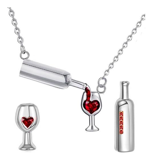 Collar Arete Amor Mamá Corazón Botella Copa Vino Swarovski E