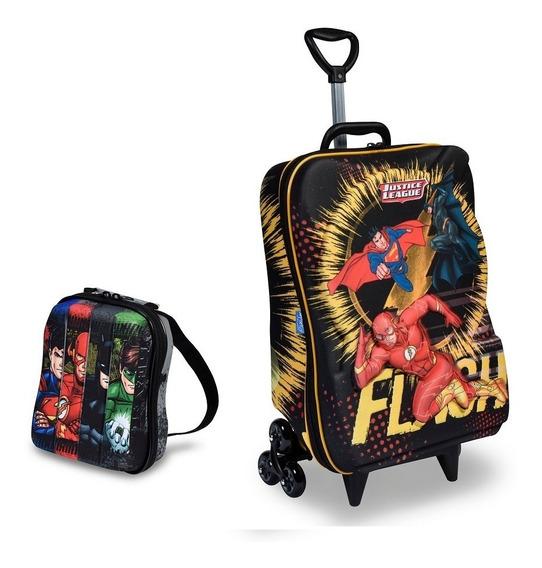 Mochila Escolar 3d Rodinhas Maxtoy Liga Da Justiça The Flash