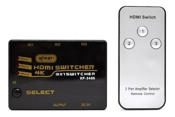 Hub Switch Hdmi 3x1 Ultra Hd 4k Com Controle Remoto + Nfe