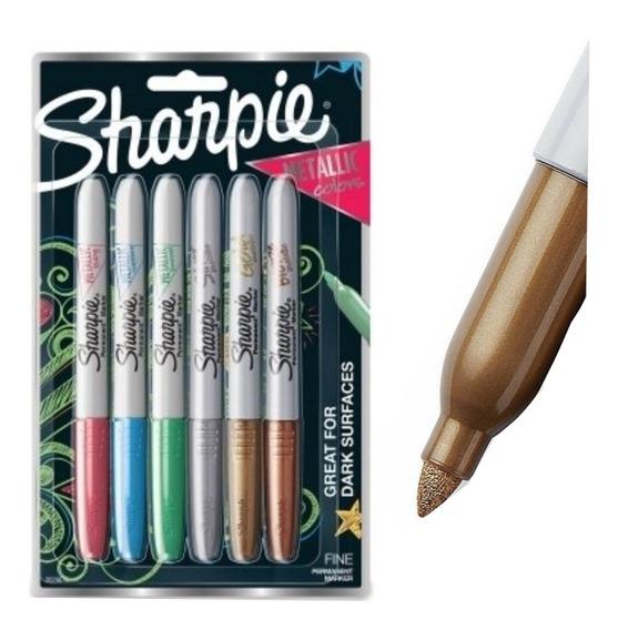 Marcador Sharpie Metalico Metalizado 6 Colores