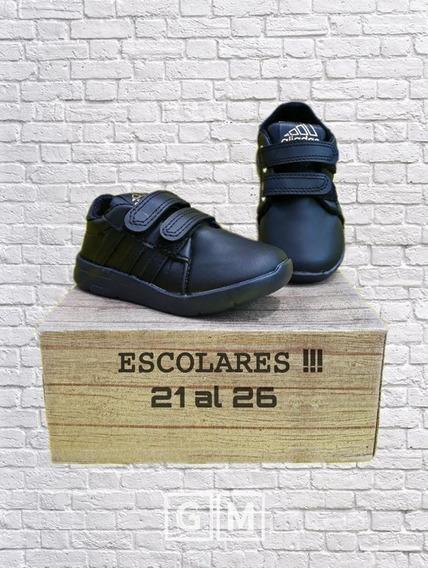 Zapatillas Escolares Niños-eco Cuero-con Abrojo-con Cordon