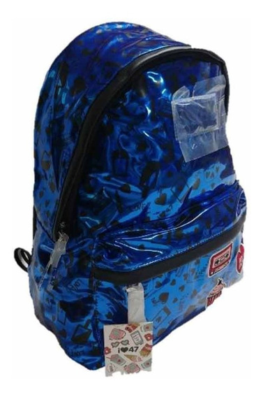 Mochila Escolar Brillosa Q471810 47 Street Original Azul