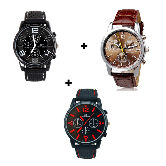 Kit Completo 3 Relógios Masculinos Silicone E Couro Barato