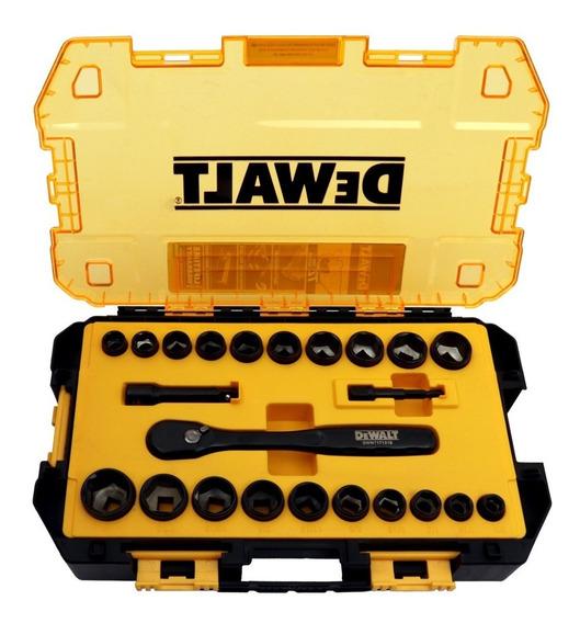 Juego De 23 Dados Mecánico Dewalt Dwmt81241 Estuche Uso Rudo