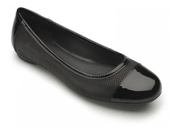 Flexi Zapatos De Piso Negro Piel Charol Confort Dama Flats