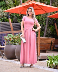Vestido Moda Evangélica Longo Em Suplex Miriam Premier P1