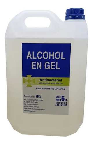 Bidon 5 Lts Alcohol En Gel Desinfectante