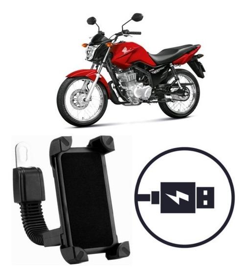 Suporte Carregador Celular Moto Honda Cg 125 Fan Es