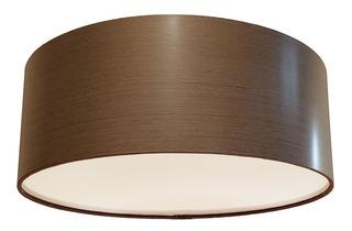 Luminária De Teto Plafon 40x15 Acabamento Madeirado