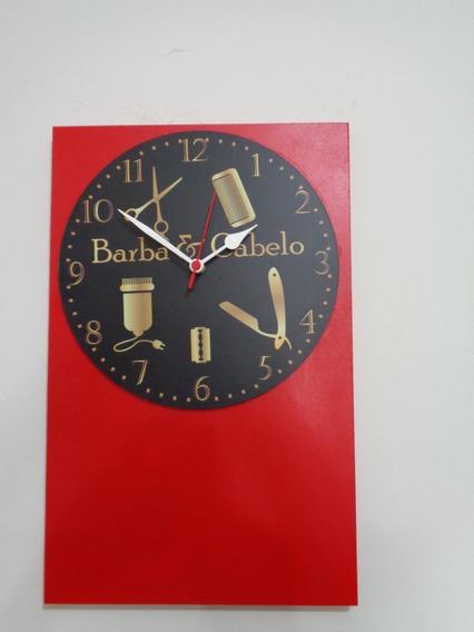 Relógio Parede Madeira Retro Barbearia Barba