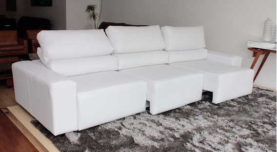 Sofa De Couro Retratil E Reclinavel 3 Modulos | Bali - 2,90m