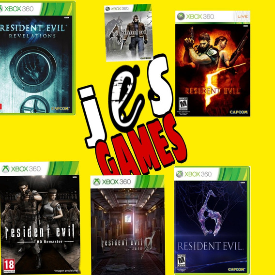 Resident Evil 0,1,4,5,6 Revelotions Midia Digital Xbox 360