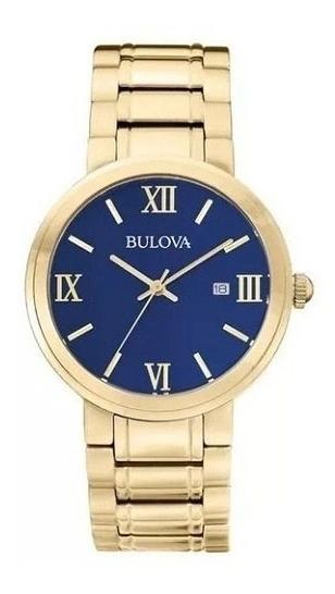 Relógio Bulova Masculino Wb26146u 97b159 Dourado Azul Oferta