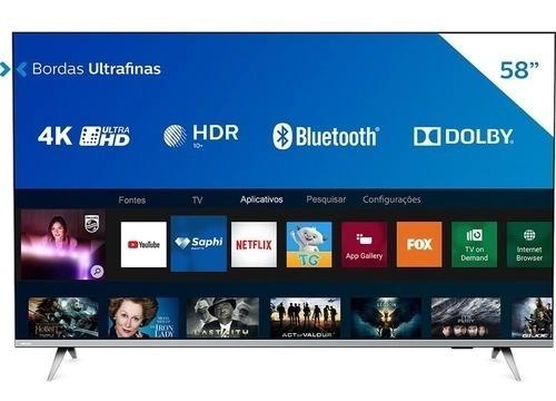 Imagem 1 de 5 de Smart Tv Philips 58 Polegadas Series 58pug6654/78 Led 4k