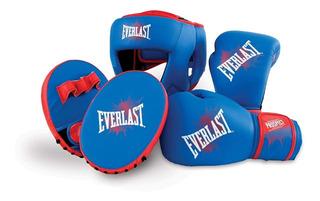 Kit Boxeo Infantil Juvenil Everlast Cabezal Guantes Foco Kick Boxing