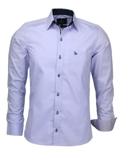 Imagem 1 de 1 de Camisa Social Masculina 100% Algodão Com Bolso Classica 1564